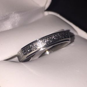 Frosted Stainless Steel Band Ring